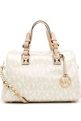 Michael by Michael Kors Medium Grayson Logo Satchel with Strap - Lyst