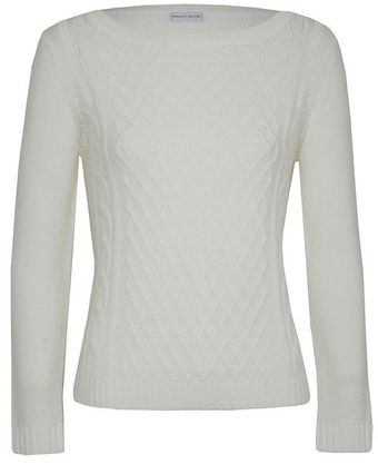 Minuet Petite Ivory Diamond Stitch Jumper - Lyst