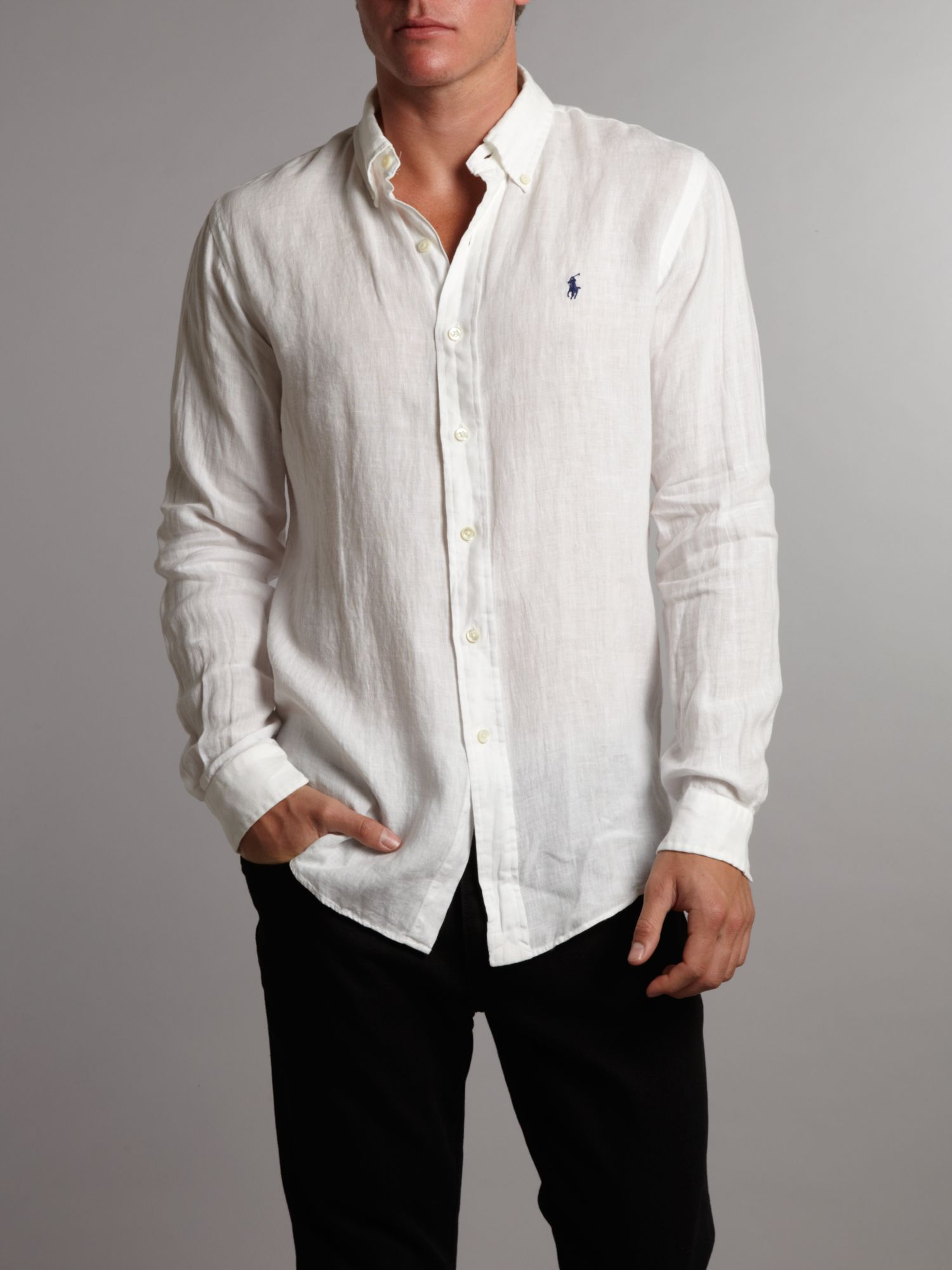 polo ralph lauren linen button down shirt in white for men