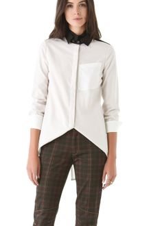 10 Crosby by Derek Lam Double Collar Colorblock Blouse - Lyst