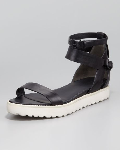 Alexander Wang Jade Leather Sandal Black in Black