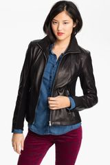 Calvin Klein Leather Scuba Jacket - Lyst