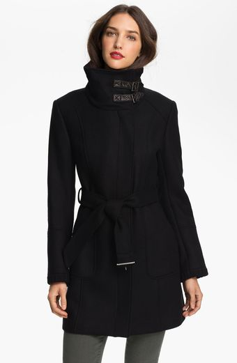 Cole Haan Leather Trim Asymmetrical Coat - Lyst
