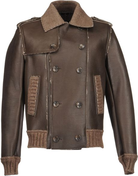 Leather Outerwear in Brown for Men (vert) | Lyst