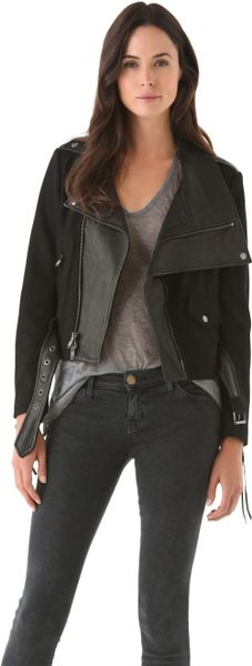 Donna Karan New York Felt Leather Jacket in Black