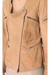 Donna Karan New York Collarless Asymmetrical Zip Jacket in Beige - Lyst