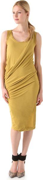 Donna Karan New York Draped Foundation Dress in Yellow