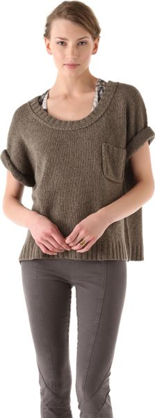 Donna Karan New York Elbow Sleeve Tshirt in Brown