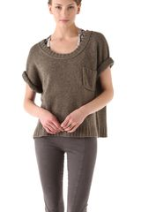 Donna Karan New York Elbow Sleeve Tshirt in Brown - Lyst