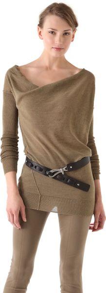 Donna Karan New York Long Sleeve Sweater in Khaki
