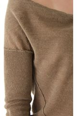 Donna Karan New York Long Sleeve Sweater in Khaki - Lyst
