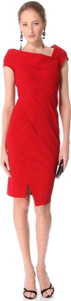 Donna Karan New York Sculpted Cap Sleeve Dress in Red - Lyst