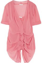 Donna Karan New York Ruched Stretch Silk Chiffon Top in Pink (rose) - Lyst