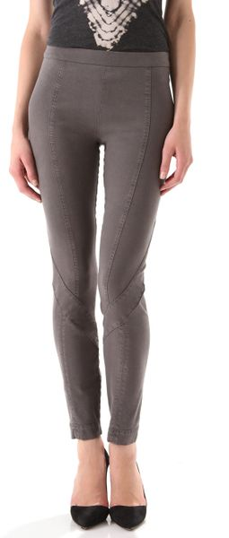 Donna Karan New York Second Skin Seamed Pants in Gray