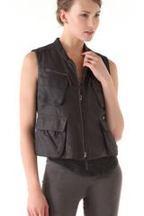 Donna Karan New York Zip Leather Vest in Black - Lyst