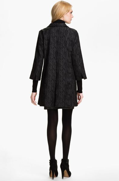 Eileen Fisher Jacquard Coat In Black Charcoal Lyst