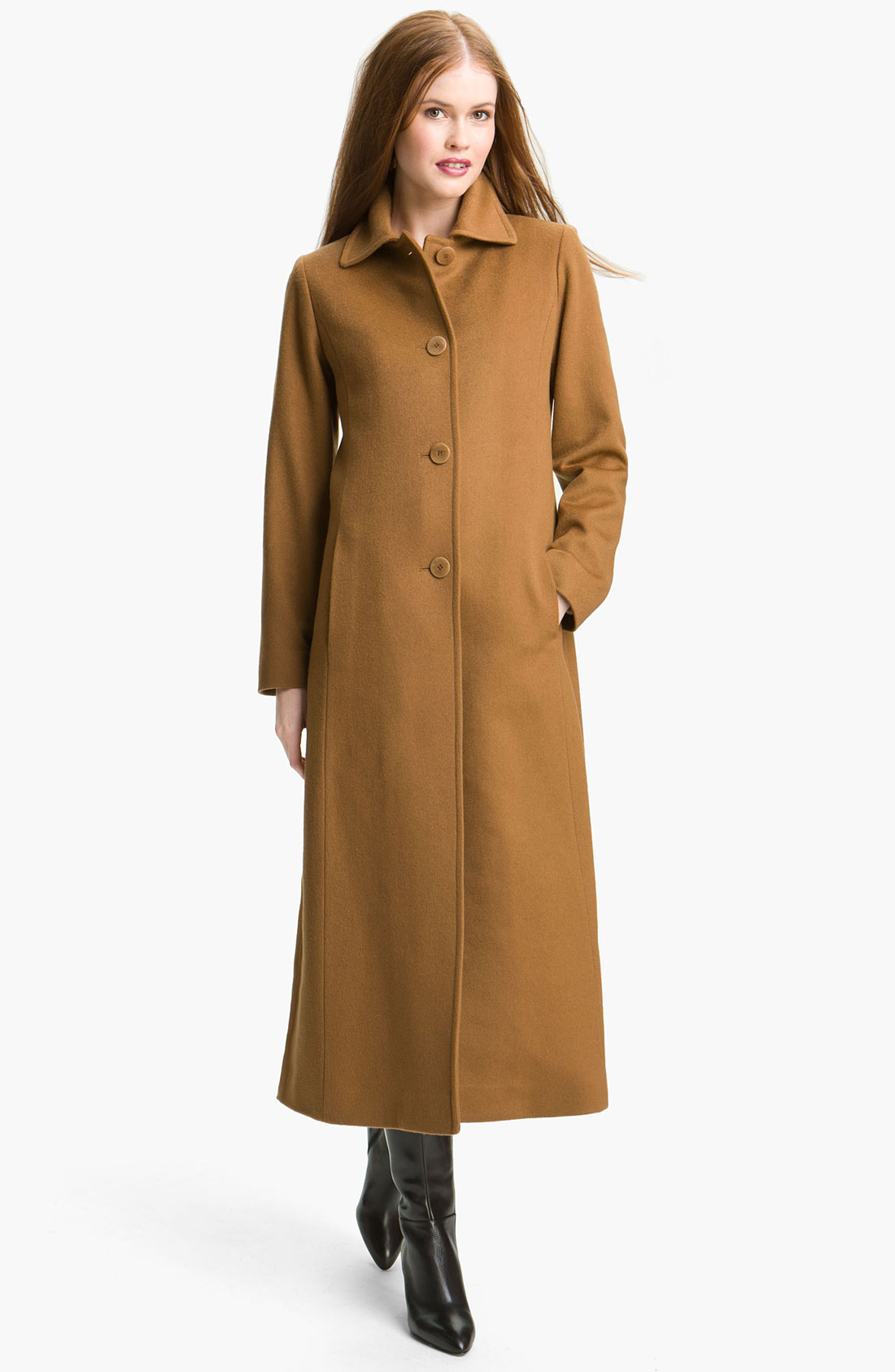 Fleurette Single Breasted Cashmere Coat in Brown (vicuna ...