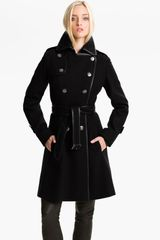 Guess Double Breasted Wool Blend Coat  - Lyst