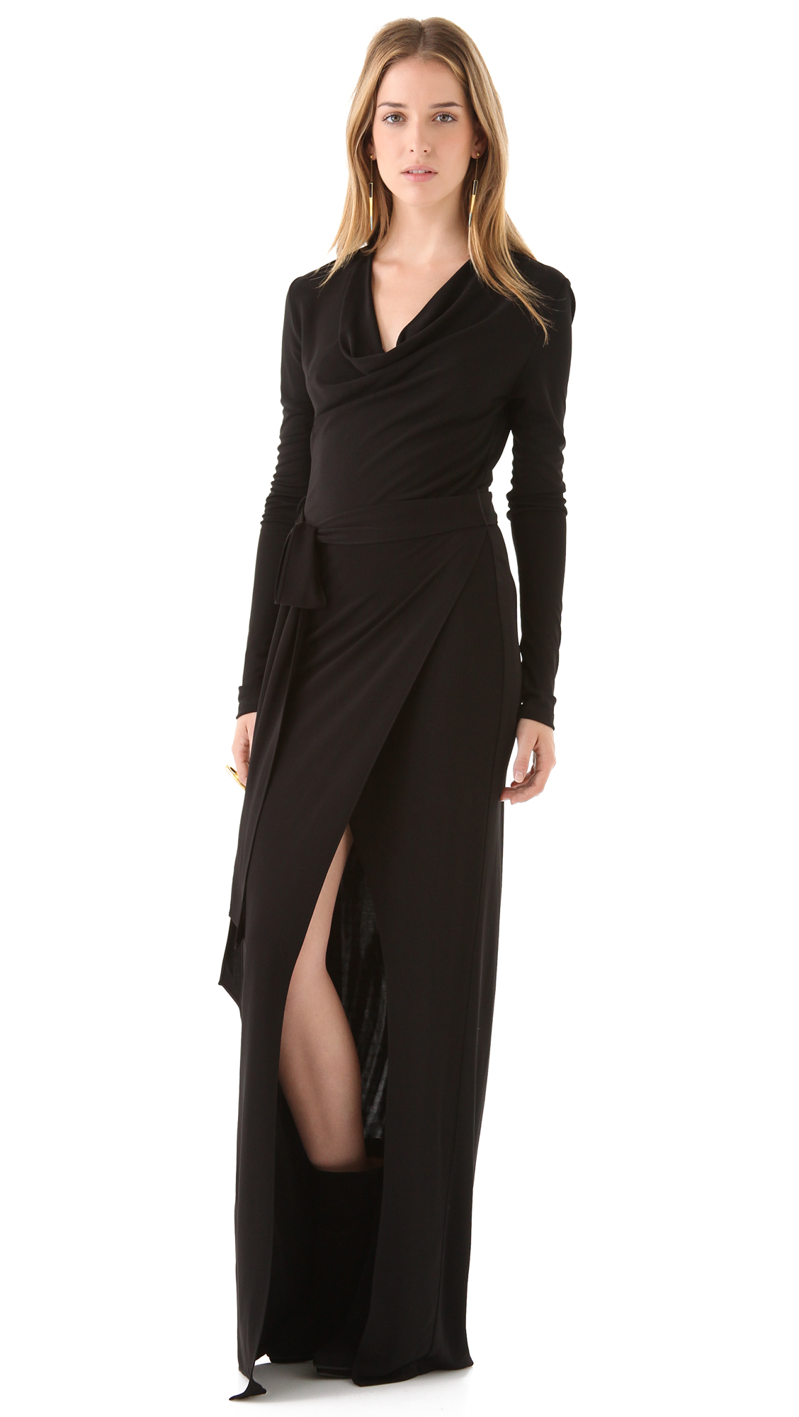 black dress with high slits haute hippie long sleeve maxi dress with high slit in 8275