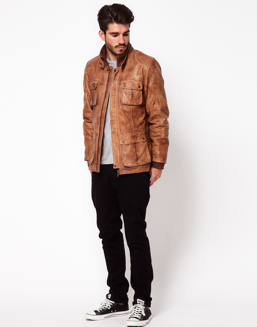 Lyst - Pepe Jeans Pepe Heritage Leather Jacket in Brown for Men 797243b30