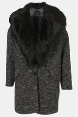 Topshop Faux Fur Collar Coat - Lyst