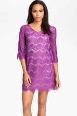 Alexia Admor Vneck Scalloped Lace Shift Dress - Lyst