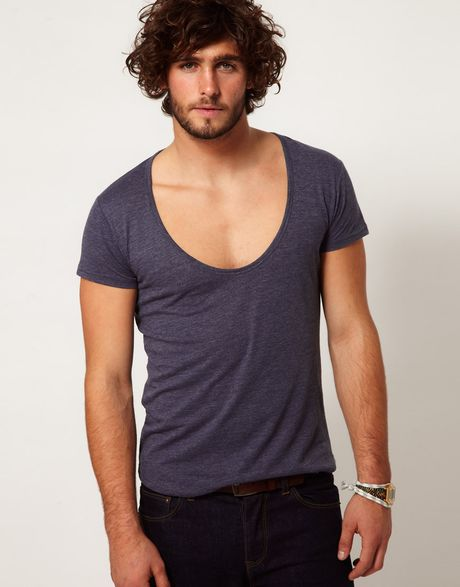 Asos t shirt with deep scoop neck in blue for men for Deep scoop neck t shirt
