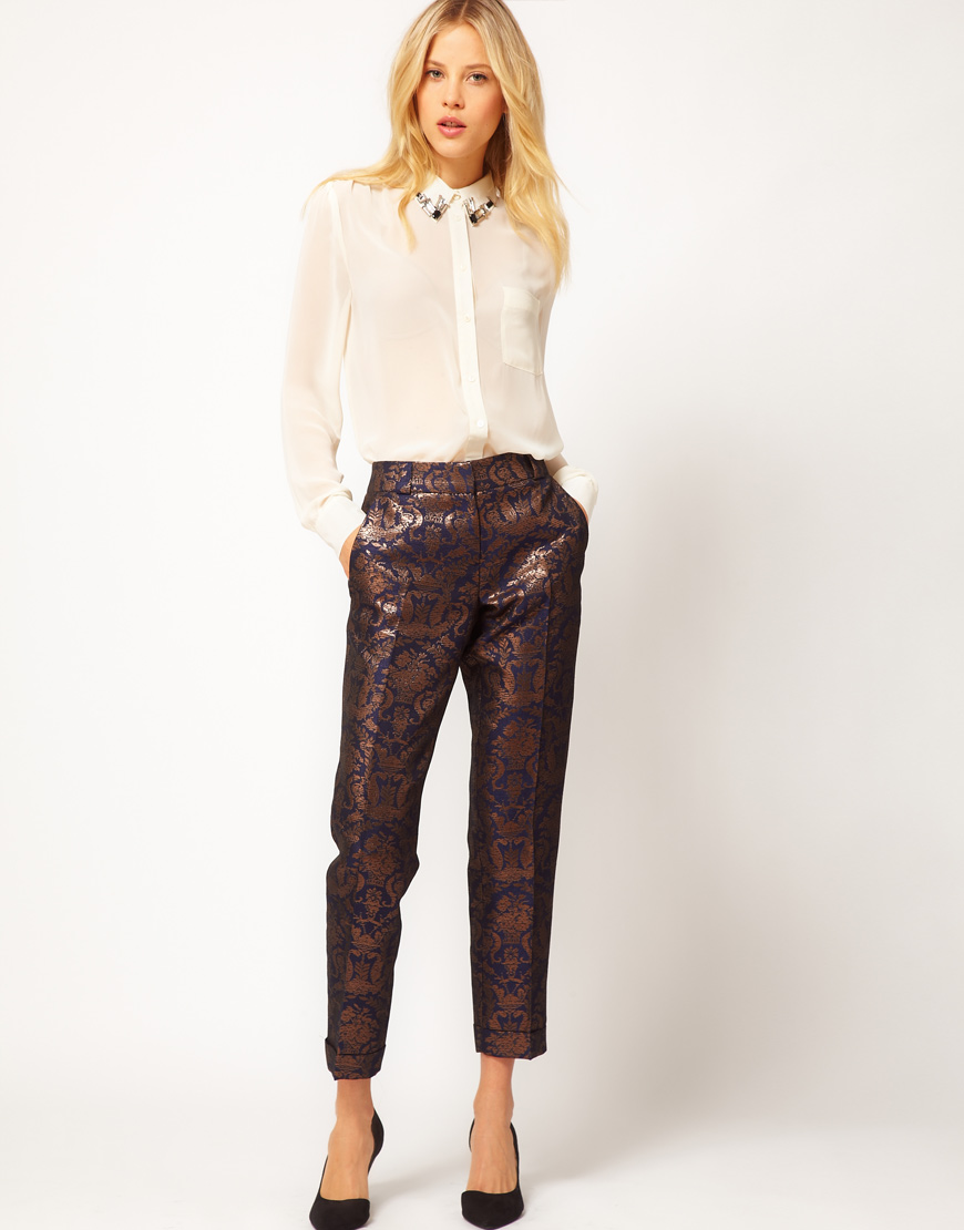 Asos Collection Asos Peplum Top In Sequin In Natural: Asos Collection Asos Shirt With Embellished Collar
