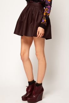ASOS Collection Skater Skirt in Leather Look - Lyst