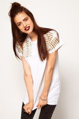 ASOS Collection Asos Tshirt with Stud Shoulder - Lyst