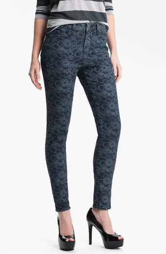 Blue Essence Lace Print Jeans - Lyst