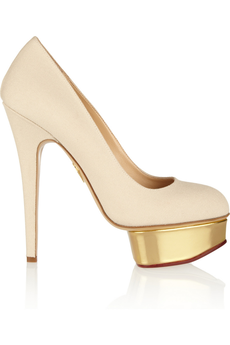 b340a194602 Lyst - Charlotte Olympia The Dolly Canvas and Leather Platform Pumps ...