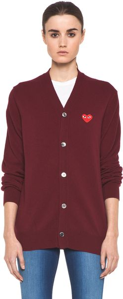 Comme Des Garçons Cardigan with Red Emblem in Burgundy - Lyst