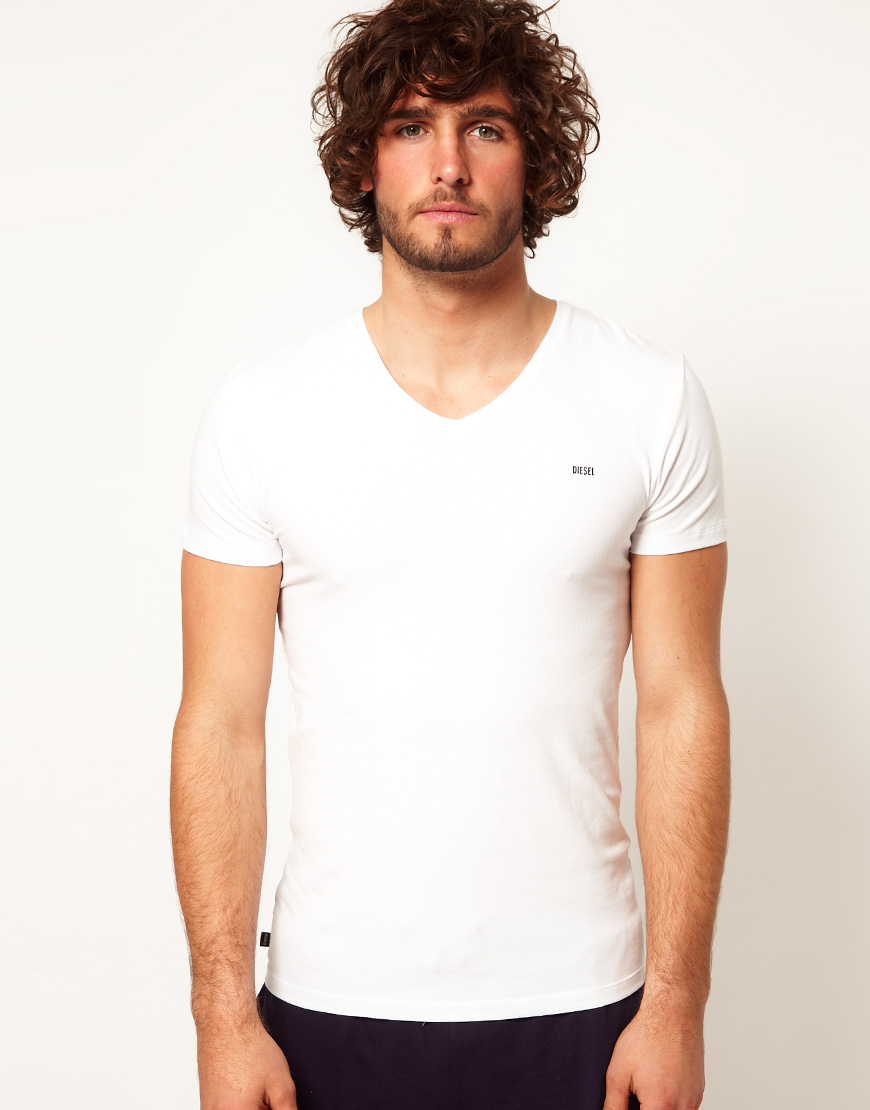 Diesel Michael V Neck Tshirt in White for Men | Lyst