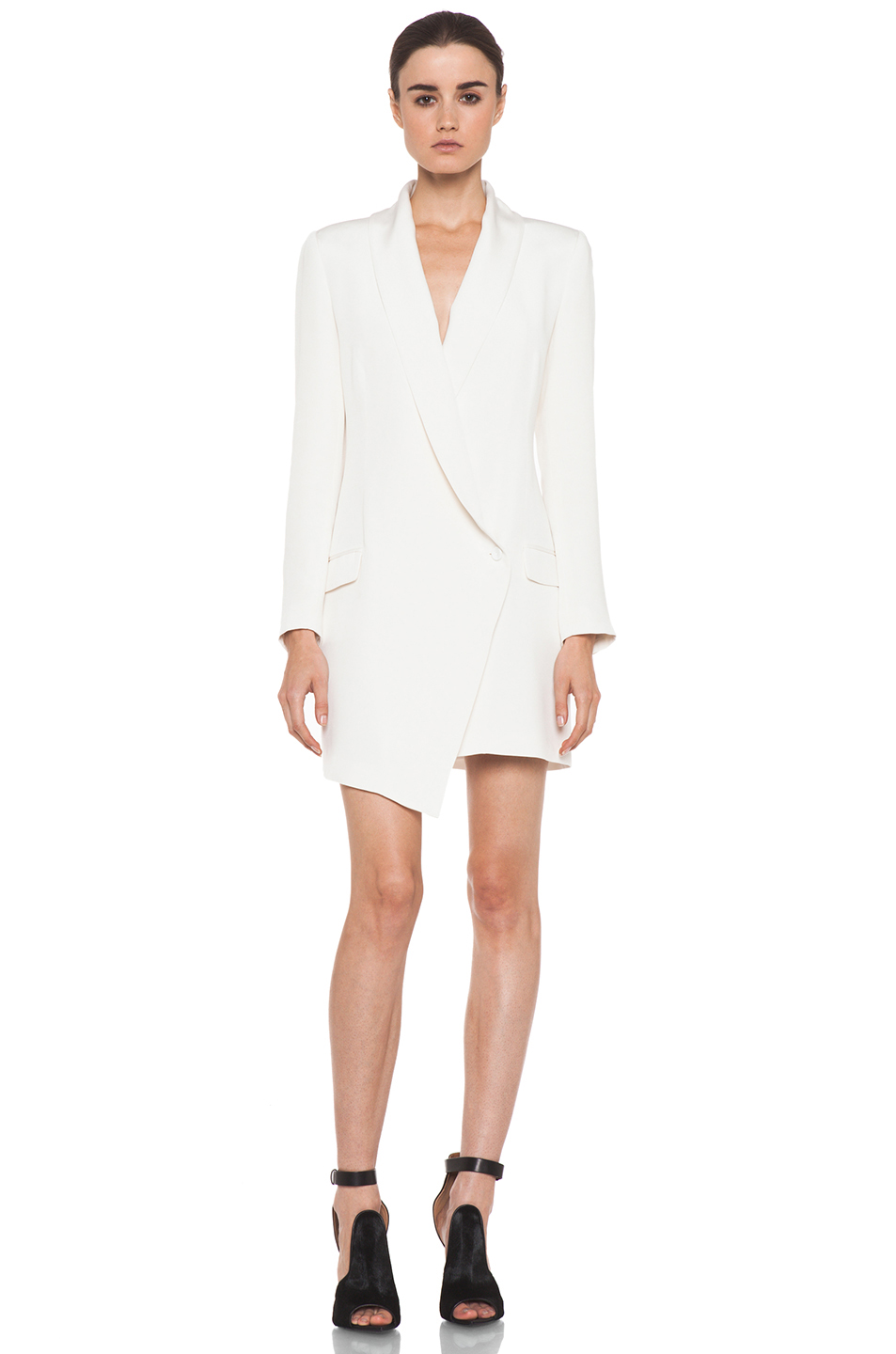 Haute Hippie Extra Long Blazer Dress In Ivory In White (ivory) | Lyst