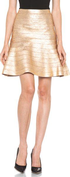 Hervé Léger A- Line Skirt in Gold in Gold - Lyst