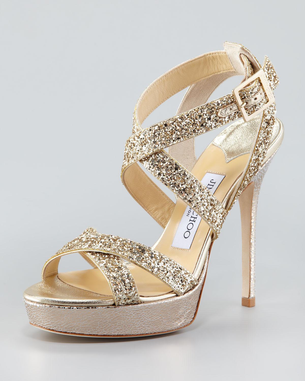 c78e962a08ac Lyst - Jimmy Choo Vamp Glitterstrap Sandal in Metallic