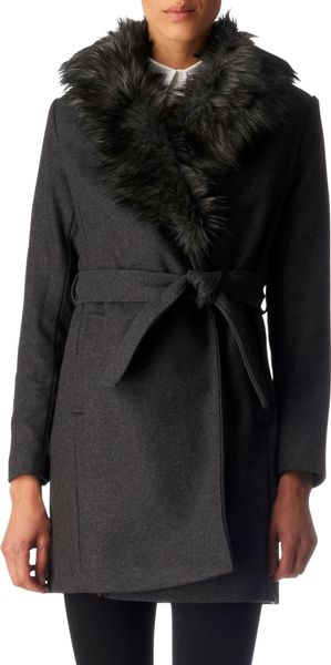 Michael by Michael Kors Faux-fur Collar Coat - Lyst