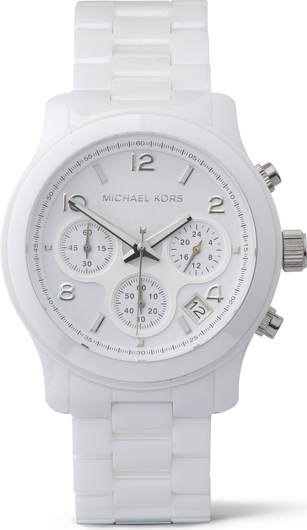 Michael kors ceramic chronograph watch in white lyst for Watches michael kors