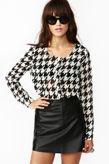 Nasty Gal Houndstooth Cutout Top