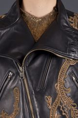Ralph Lauren Embroidered Motorcycle Jacket in Black - Lyst