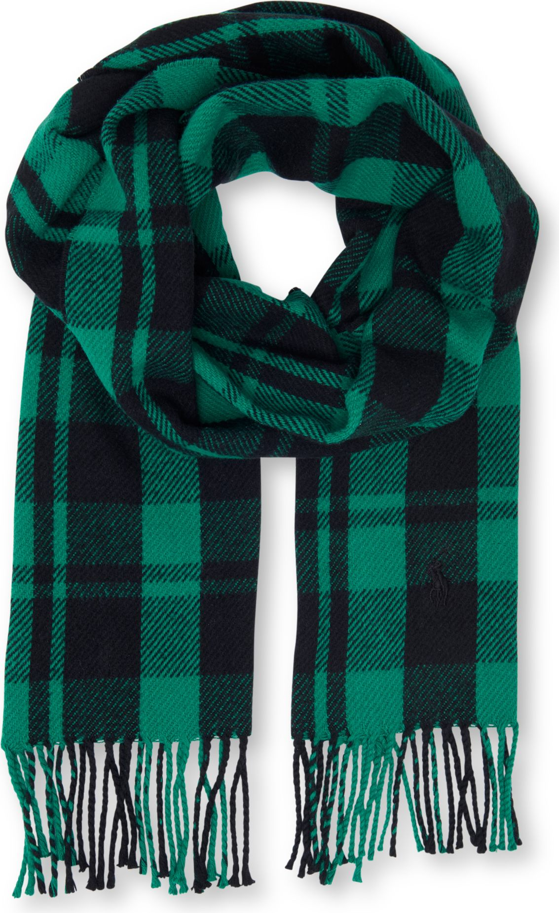 ralph chunky checkedcotton scarf in green for