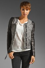 Rebecca Taylor Tweed and Leather Jacket - Lyst