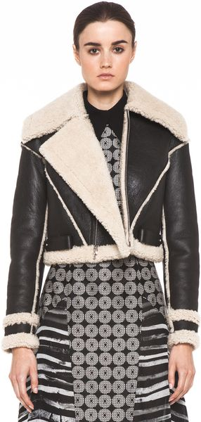 Rodarte Cropped Shearling Jacket in Black - Lyst