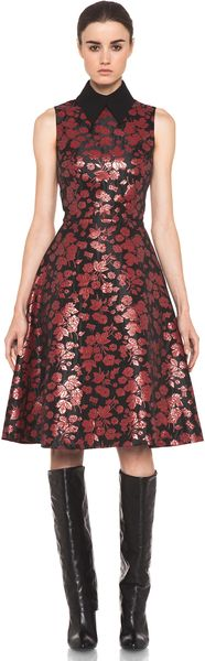 Rodarte Embroidered Tulle Dress in Red Black Floral in Red (red & black floral)
