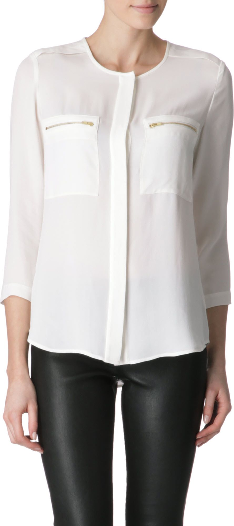 76e6a48951 Theory Double Georgette Brundia Blouse in White - Lyst