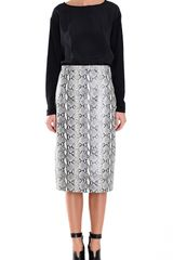 Tibi Python Printed Leather Skirt in Gray (blue multi) - Lyst