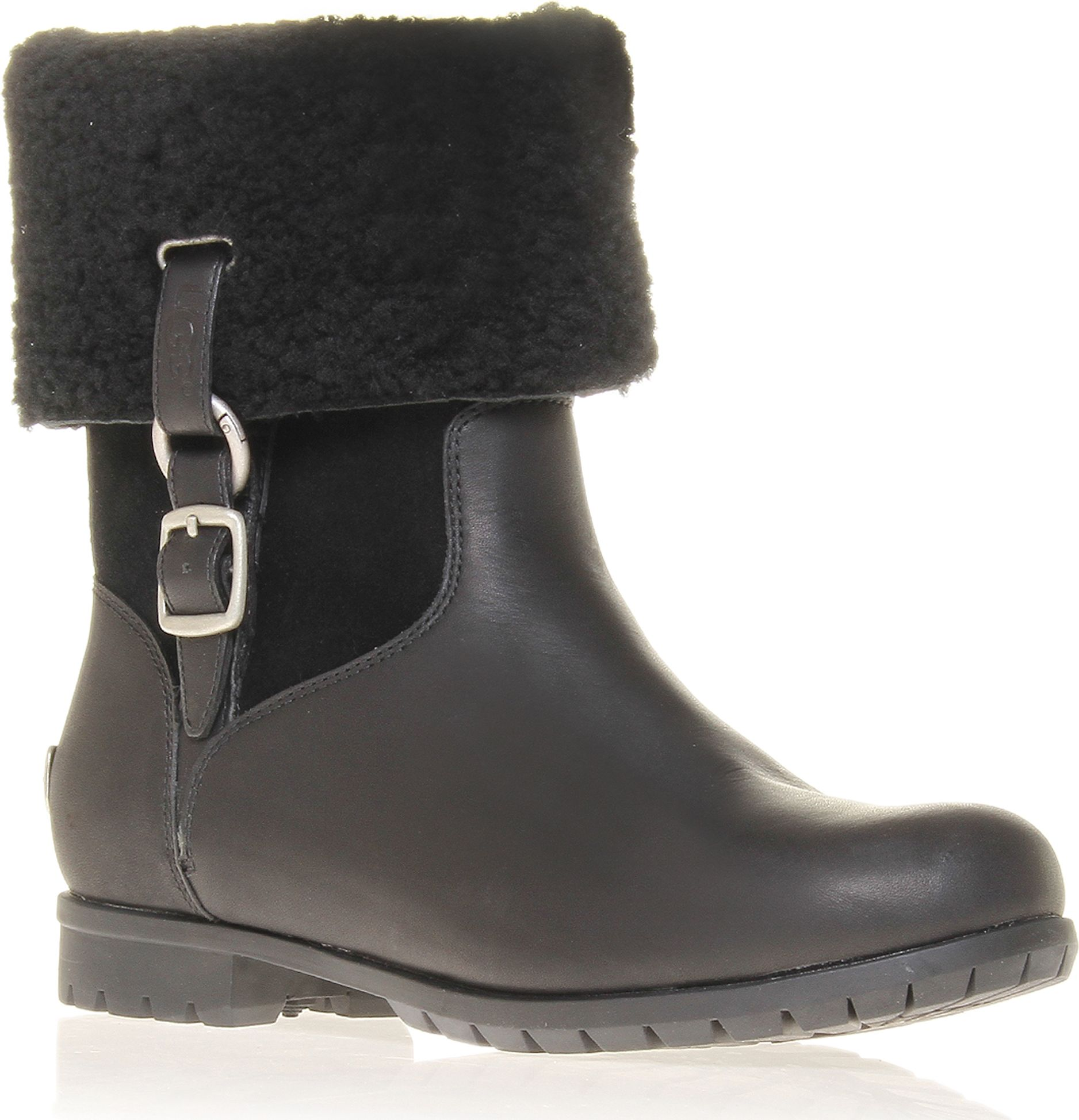 ugg bellvue iii leather ankle boots in black lyst