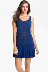 Vince Camuto Beaded Bodice Drop Waist Dress - Lyst