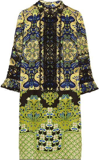 Anna Sui Printed Crepe De Chine and Lace Dress - Lyst